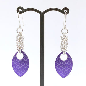'Maddy' Silver & Purple dragon skin scale earrings