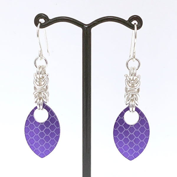Byzantine & Purple dragon skin scale earrings