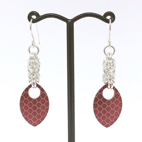 Byzantine & Red dragon skin scale earrings