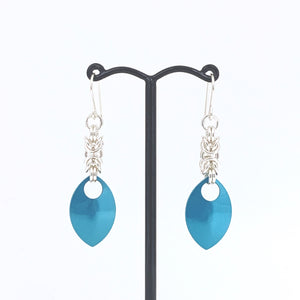 'Emma' Silver & Teal scale earrings