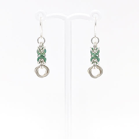 Lettuce & Silver Byzantine Rose earrings