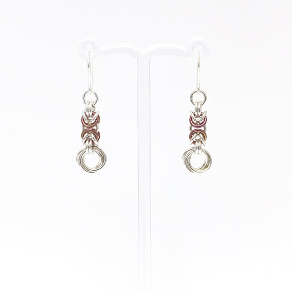 'Olivia' Raspberry & Silver earrings