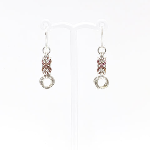 Raspberry & Silver Byzantine Rose earrings