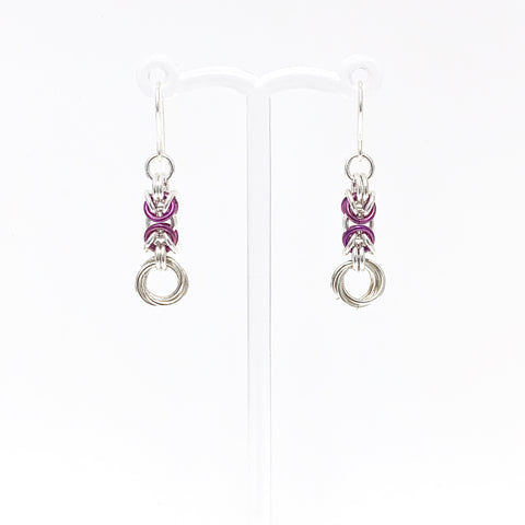 Plum Violet & Silver Byzantine Rose earrings