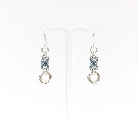 Faded Jeans & Silver Byzantine Rose earrings