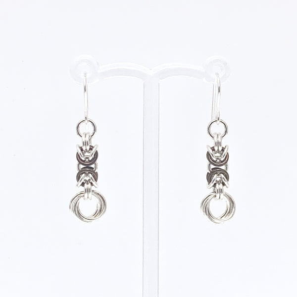 'Olivia' Chocolate Brown & Silver earrings (limited)