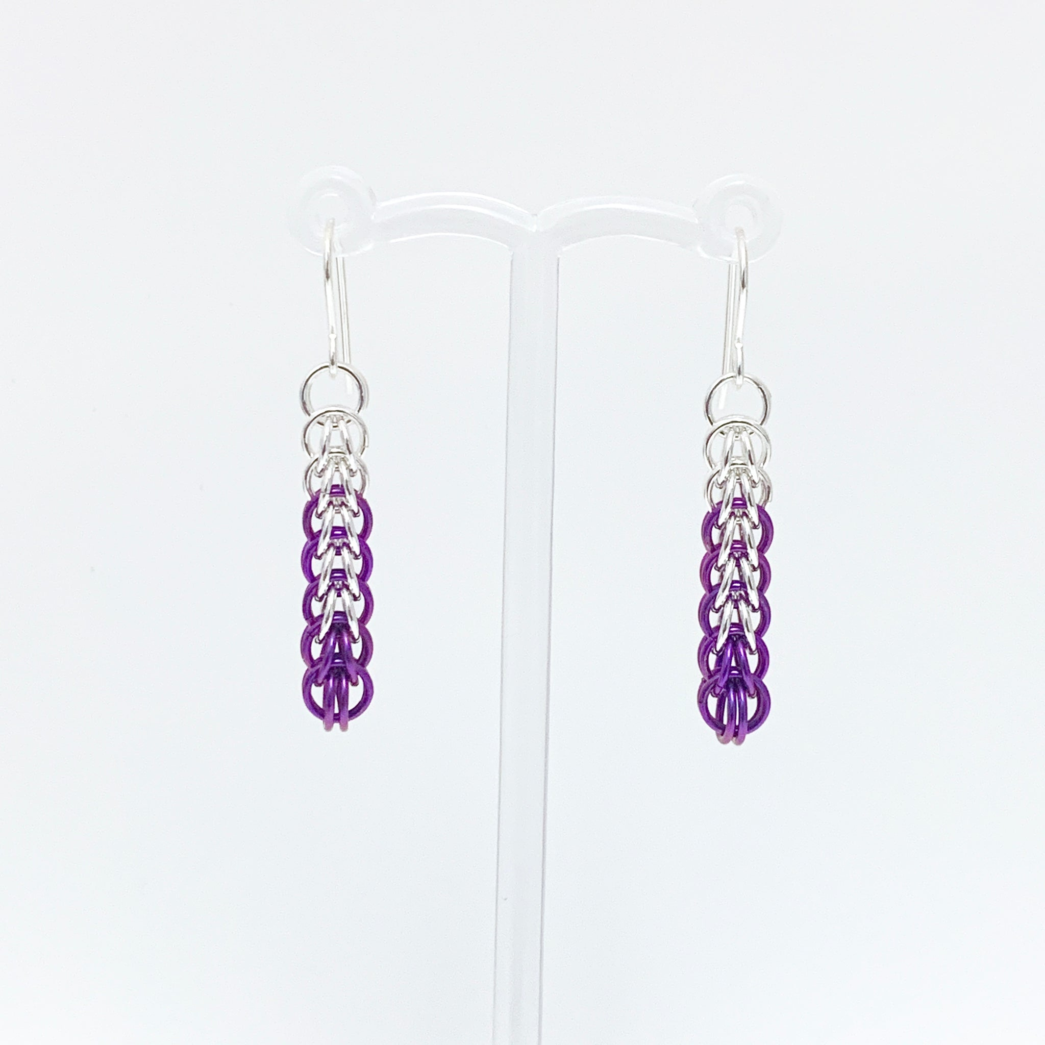 'Ivy' 7 Plum & Silver earrings