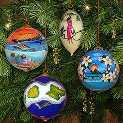 Maui by Design is known for beautiful hand painted Hawaiian ornaments