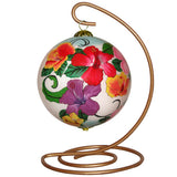 Beautiful Hawaiian Christmas ornament with multi-colored Hibiscus flowers on a stand