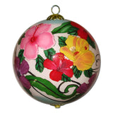 Beautiful Hawaiian Christmas ornament hand painted from the inside with colored Hibiscus flowers