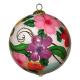 Hand painted Hawaiian Christmas ornaments with multi-colored Hibiscus flowers