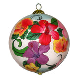 Beautiful Hawaiian ornament with multi-colored Hibiscus flowers