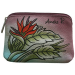 Hand painted leather Bird of Paradise Coin Purse