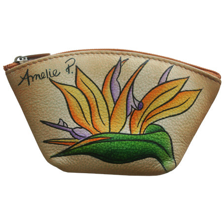 Beautiful hand painted Bird of Paradise Coin Purse from Maui by Design
