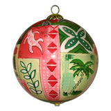 Beautiful Hawaiian Christmas ornament hand painted from the inside with Hawaii quilts and tapa art