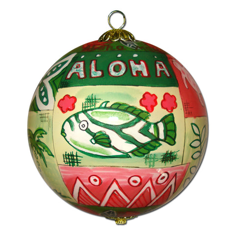 Hawaii ornament with hand painted Hawaiian quilts and tapa art
