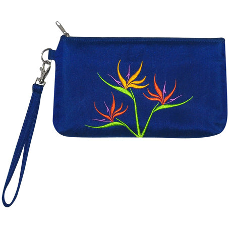 Embroidered Bird of Paradise wristlet