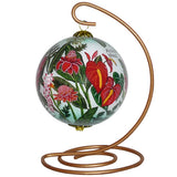 Beautiful hand painted Hawaii ornament with tropical flowers