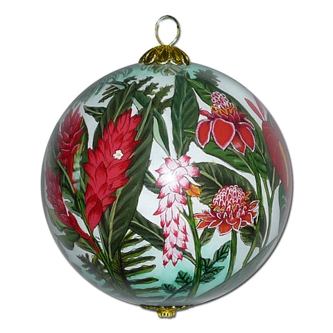 Hand painted Hawaii ornament with tropical flowerrs