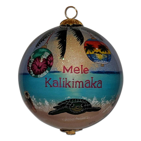 Hawaiian Christmas ornament with different Hawaiian ornaments hanging around and honu sea turtle