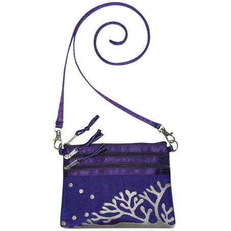 Embroidered coral design on 100% silk cross body bag