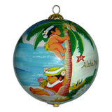 Hawaiian Christmas ornament hand painted with children playing and coconut trees