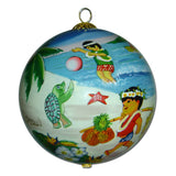 Hawaiian Christmas ornament with honu sea turtles and keiki playing