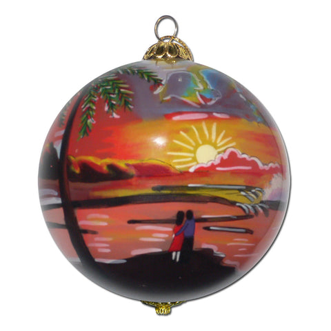 Classic Sunset Hawaiian Christmas Ornament