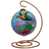 Hand painted Hawaii ornament with honu sea turtles on decorative stand
