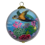 Hand painted Hawaii Christmas ornament with honu sea turtles