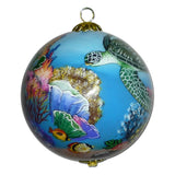 Beautiful Hawaiian Christmas ornament with honu sea turtles and corals
