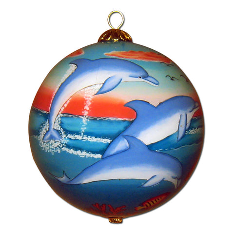 Hand painted Hawaii ornament with dolphins