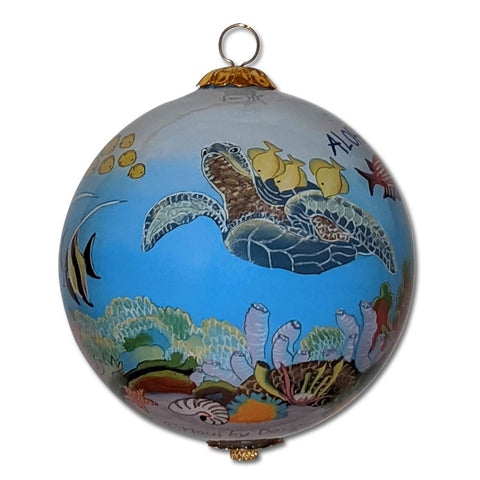Hawaii Christmas ornament with honu sea turtles