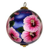 Beautiful Hawaii ornament with fuchsia hibiscus flowers