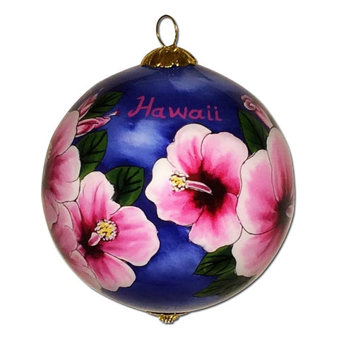 Hand painted Hawaiian Christmas ornament with fuchsia hibiscus flowers