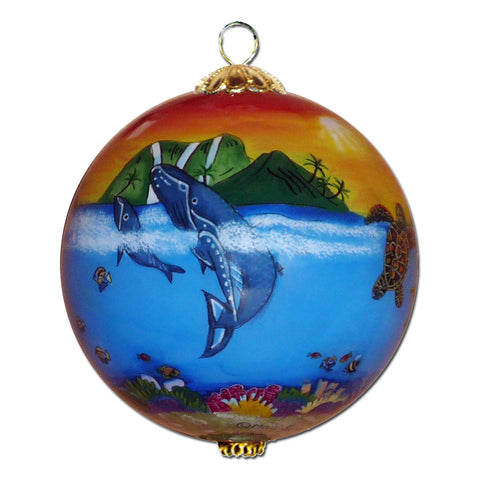 Hand painted Hawaii ornament with humpback whale