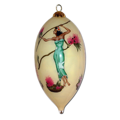 Hand painted Hawaii ornament with Gill's wahine