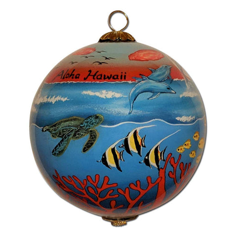 Hawaii Christmas ornament with sea turtles, tropical fish and dolphins