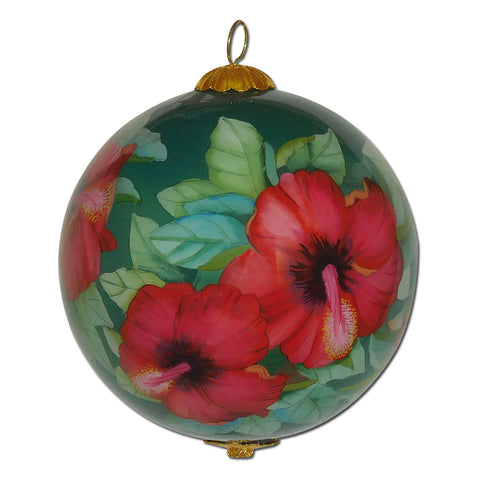 Beautiful Hawaiian ornament with red hibiscus flowers