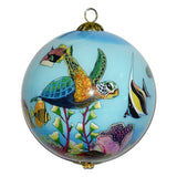 Hand painted Hawaii ornament painted on the inside with honu sea turtles