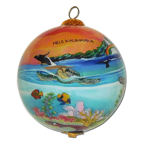 Hawaii Christmas ornament with honu sea turtles, humpback whales and tropical fish