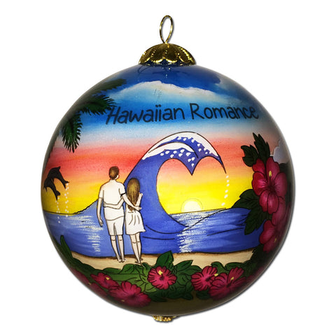 Hawaii Christmas ornament with couple looking at Hawaiian sunset