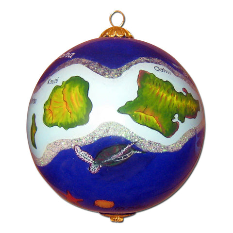 Hawaii ornament hand painted on the inside with Hawaiian islands