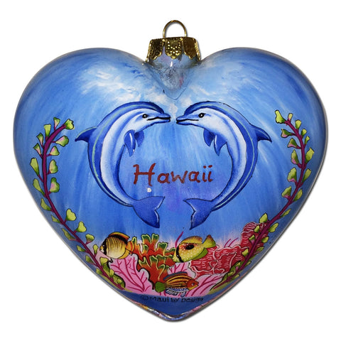 Romantic Hawaii ornament with kissing dolphins