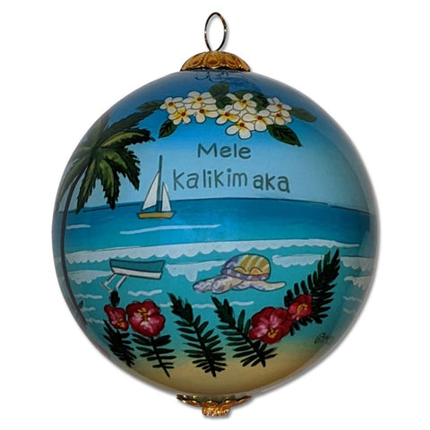 Hawaii Christmas ornament with sea turtles and plumeria