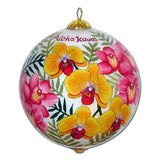 Hawaiian Christmas ornament hand painted with pink and yellow orchids