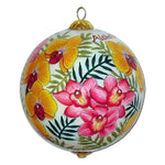Hand painted Hawaii Christmas ornament with orchids