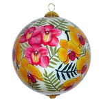 Hawaiian Christmas ornament hand painted with orchids
