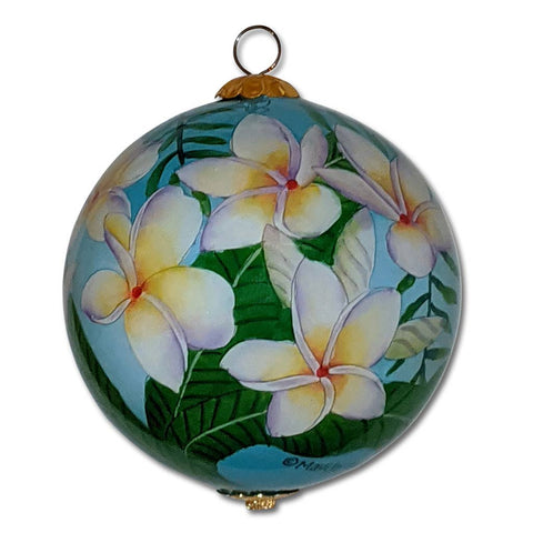 Hand painted Hawaii ornament with white plumeria flowers