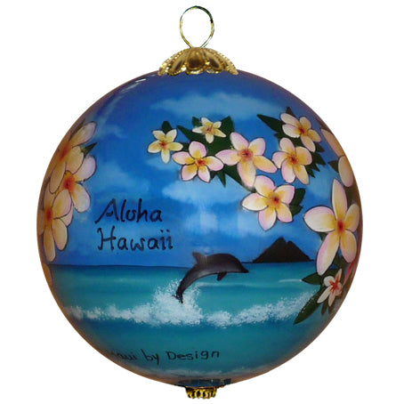 Beautiful Hawaiian ornament with plumerias and dolphins